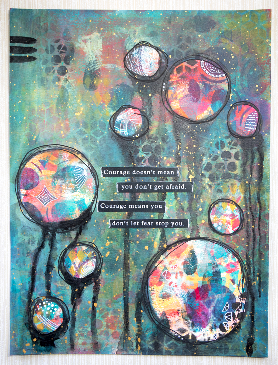 Robyn Wood - Courage is... - mixed media art journal workshop
