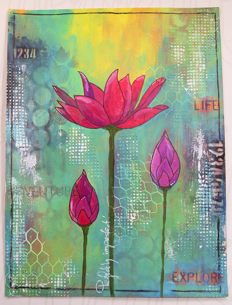 Robyn Wood - Perfectly Imperfect art journal page - Lotus bloom