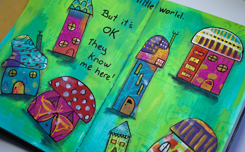 My own little world - art journal page by Robyn Wood, www.purple