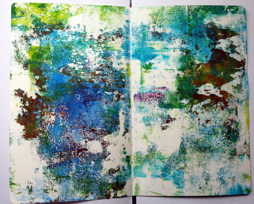 Using a Gelli printed background as a base for an art journal page