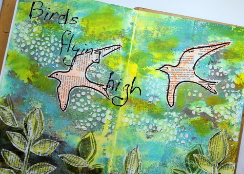 Creating an art journal page using Gelli print as starting point.