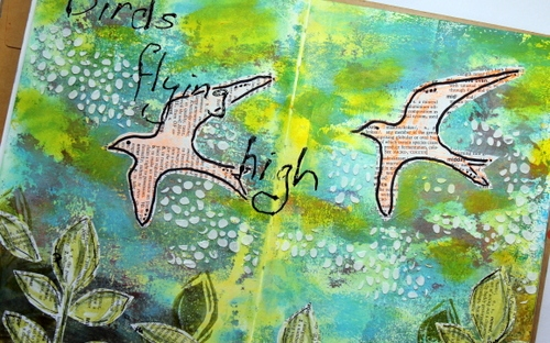 Art journal page using Gelli print as starting point.