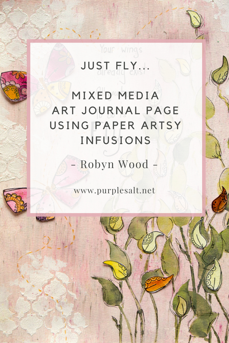 Just Fly mixed media art journal page by Robyn Wood #mixedmedia #artjournal #purplesalt #robynwood