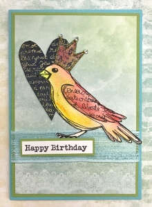 A sweet birdie birthday card coloured with Gelatos & featuring Carabelle Studios stamps.